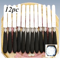 "Antique French 12pc .800 (nearly sterling) Silver & Ebonized Wood Handle 8"" Entremet, Dessert or Cheese Knife Set"
