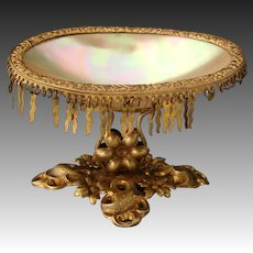 Antique French Palais Royal Mother of Pearl & Ormolu Vide Poche, Open Salt or Jewelry Dish