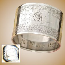 "Antique French Sterling Silver Napkin Ring, Ornate Guilloche Style Decoration, ""TS"" Monogram"