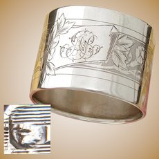Antique French Sterling Silver Napkin Ring, Ornate Guilloche Style Floral Decoration