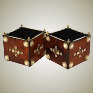 Rare PAIR of Antique French Napoleon III Plant Boxes or Jardinieres, Burled with Mother of Pearl Accents