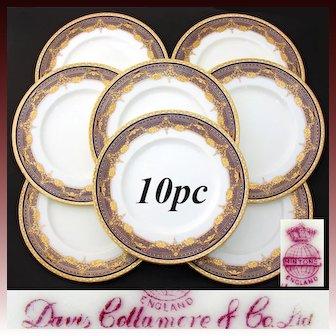"Stunning Antique Minton 1916 Marked 8pc 10.25"" Dinner Plate Set, Raised Gold Enamel on Cobalt Blue"
