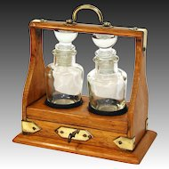 """Antique Victorian Era Miniature 7"""" Tantalus Style Perfume Caddy, Solid Oak with Brass Straps"""
