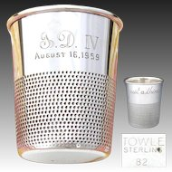 """Delightful Vintage Novelty Sterling Silver Shot Glass, Cup: A Thimble, """"Just a Thimble Full"""""""