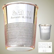 "Delightful Vintage Novelty Sterling Silver Shot Glass, Cup: A Thimble, ""Just a Thimble Full"""