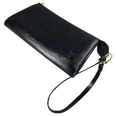 Vintage Louis Vuitton Pochette, Purse, Bag, Black Epi Leather, with Purse Strap, Excellent!