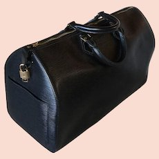 Vintage Louis Vuitton 45CM Keepall, Luggage, Bag, Black Epi Leather, w Lock, Classic! Excellent!