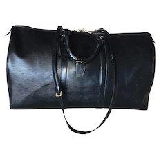 Fine Louis Vuitton Vintage Black Epi Leather Keepall 55, Luggage Tag, Shoulder Strap, Handle Strap
