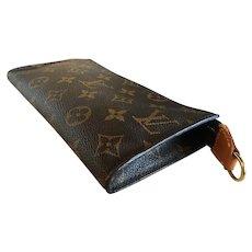 Vintage LOUIS VUITTON Pochette Purse, Bag, Makeup, LV Monogram Logo w Leather Strap, Made in France