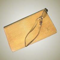 Rare Vintage LOUIS VUITTON Yellow Epi Pochette Bag, Purse, Lavender Lining, EC