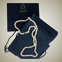 """Vintage MIKIMOTO Pearl Necklace, 6.5 mm, 24"""" Long and in Original Presentation Box, Pouch"""