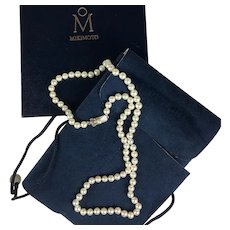 "Vintage MIKIMOTO Pearl Necklace, 6.5 mm, 24"" Long and in Original Presentation Box, Pouch"