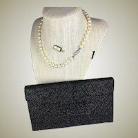 "Vintage MIKIMOTO Pearl Necklace, 7mm, 15.5"" Long Choker, Original Presentation Pouch"