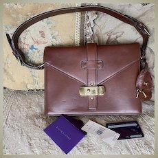 Vintage Ralph Lauren Saddle Leather Purse, Bag, Lock & Keys, Orig Tag: $2600