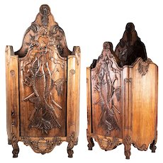 Vintage French Hand Carved Copy of 1700s Salt Cabinet, Fish, Cabriole Legs. Country Decor