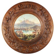 Antique Hand Carved Black Forest Bread Board, Platter, Oil Painting of Lucern, Switzerland, Grand Tour Souvenir