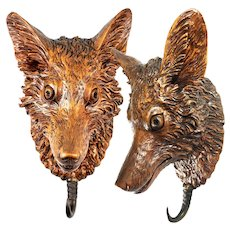 "Antique Black Forest 10.5"" Crop Hook, Fox or Wolf, Hand Carved Wall Plaque"