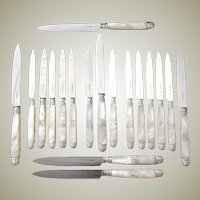 Gorgeous Antique French Napoleon III Era 18pc Mother of Pearl & Sterling Silver Table Knife Set, 3pc Setting for SIX