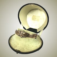 "Antique Victorian 10k Gold and Seed Pearl Hinged Bangle Bracelet, 7"" Wrist"