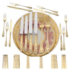 Rare Antique French 18k Gold on Sterling Silver Vermeil 16pc Flatware Set, Caduceus Serpents, Ornate