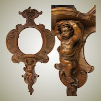"EXQ Antique Victorian Era Carved Walnut 32"" Wall Mirror & Shelf, Ornate with Cherub or Putti"