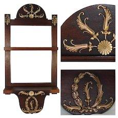 "Antique French Empire Style 15.75"" Wall Shelf & Mirror, Bronze & Mahogany"