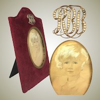Antique Edwardian 14k Gold Seed Pearl Cartouche set Frame, Miniature Portrait of Child