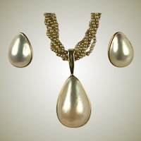 Fine Vintage 14k Gold and Mabe Pearl Pendant, Enhancer and Earrings Set, Parure
