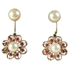 Vintage Ruby and Pearl 14k Gold Dangle Earrings, 7mm and 6mm Pearls, Pierced Ears