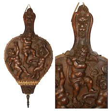 "EXQ Antique Victorian Carved 20.5"" Fireplace Bellows, Three Cherub or Putti & Griffin Figures"