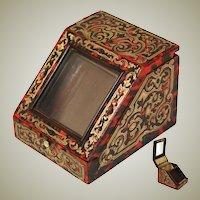 RARE Antique French Napoleon III Era Boulle Pocket Watch Display Casket, Box