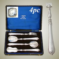 Elegant Antique French Sterling Silver 4pc Hors d'Oeuvre Implement Set, Guilloche Pattern