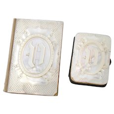 Pair Antique French Palais Royal Marked Mother of Pearl Carnet du Bal & Coin Purse