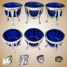 Gorgeous Antique Continental Silver & Cobalt Glass 3pc Open Salt Set, Garland