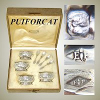 Antique French PUIFORCAT Sterling Silver 4pc Open Salt Set, Orig. Box & Spoons