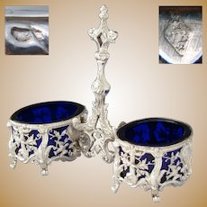 Gorgeous Antique French Sterling Silver & Cobalt Glass Double Open Salt