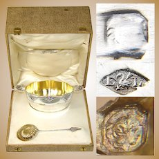 Antique French Sterling Silver Sugar Bowl, Confiturier & Sifter Spoon in Box, Caviar?