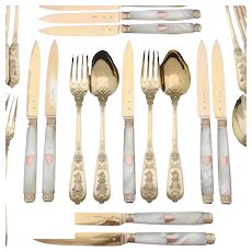 RARE 60pc Set Antique French 18k Gold on Sterling Silver Flatware Set, Highly Ornate