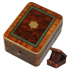Antique French Napoleon III Pocket Watch Box, Burled with Faux Malachite Inlay