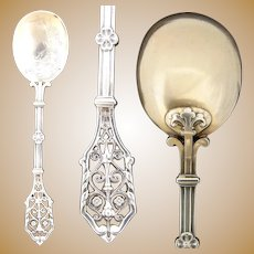 """Antique French Sterling Silver 5.5"""" Condiment Spoon, Reticulated Handle"""