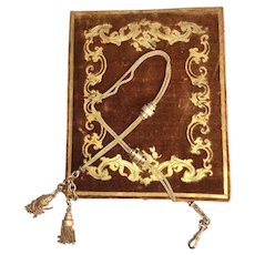 Antique Victorian Pocket Watch Chain & Tassels in Superb Watch Case, Box, (watch not included)