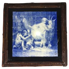 Antique Victorian Hand Painted, Signed, English Ceramic Tile in Black Forest Wood Frame, Trivet