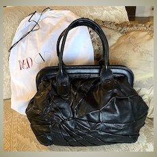 Vintage VALENTINO Garaveli BIG Black Nappa Leather Purse, Bag, Dust Cover
