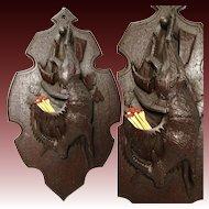 Antique Black Forest Carved Figural Hunt Motif Wall Plaque, Match or Spill Holder, IBEX