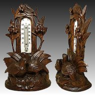 Antique Black Forest Carved Wood Desk Top Thermometer Stand, Two Birds, Milk Glass