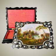 "Antique Victorian Era Hand Painted Papier Mache 12.5"" Jewelry Box, Casket, Lake Scene"
