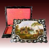 "Antique Victorian Era Hand Painted Papier Mache 12.5"" Jewelry Box, Casket, Lake Scene"