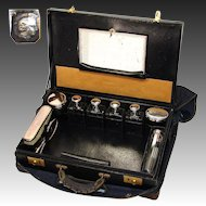 "Antique French 18"" Tousse de Voyage, Travel Case, Sterling Silver Jars & Perfumes, Original Tools"