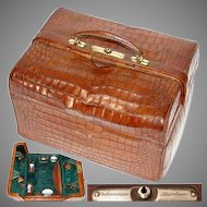"Superb Large Antique Victorian Era 15"" Alligator or Croc Travel Case, Marked ""Dalmuinzie - Aberdeen"""