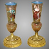 "Antique French Limoges Enamel 7"" Vase or Lamp Base PAIR, HP Man & Woman Figures"
